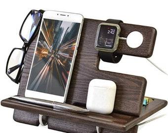 Phone Docking Station,Key Holder,Wallet Stand,Watch Organizer,Wife Anniversary,Dad Birthday Nightstand,Father,Male Travel Idea Gadgets