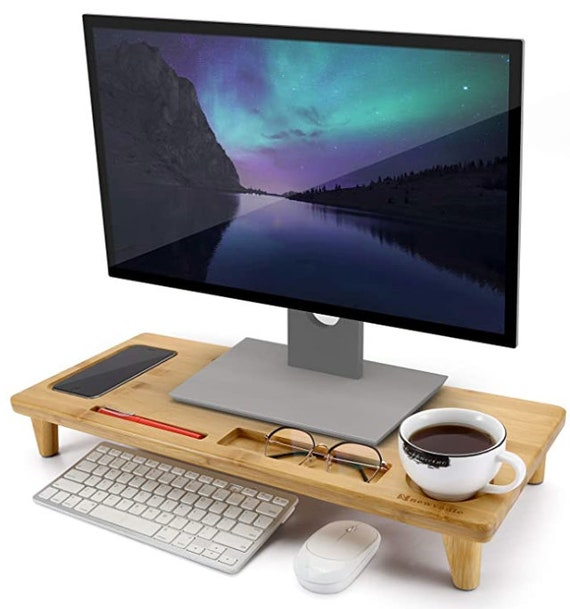 Monitor Stand Riser Bamboo Desktop Organizer With Storage For Etsy