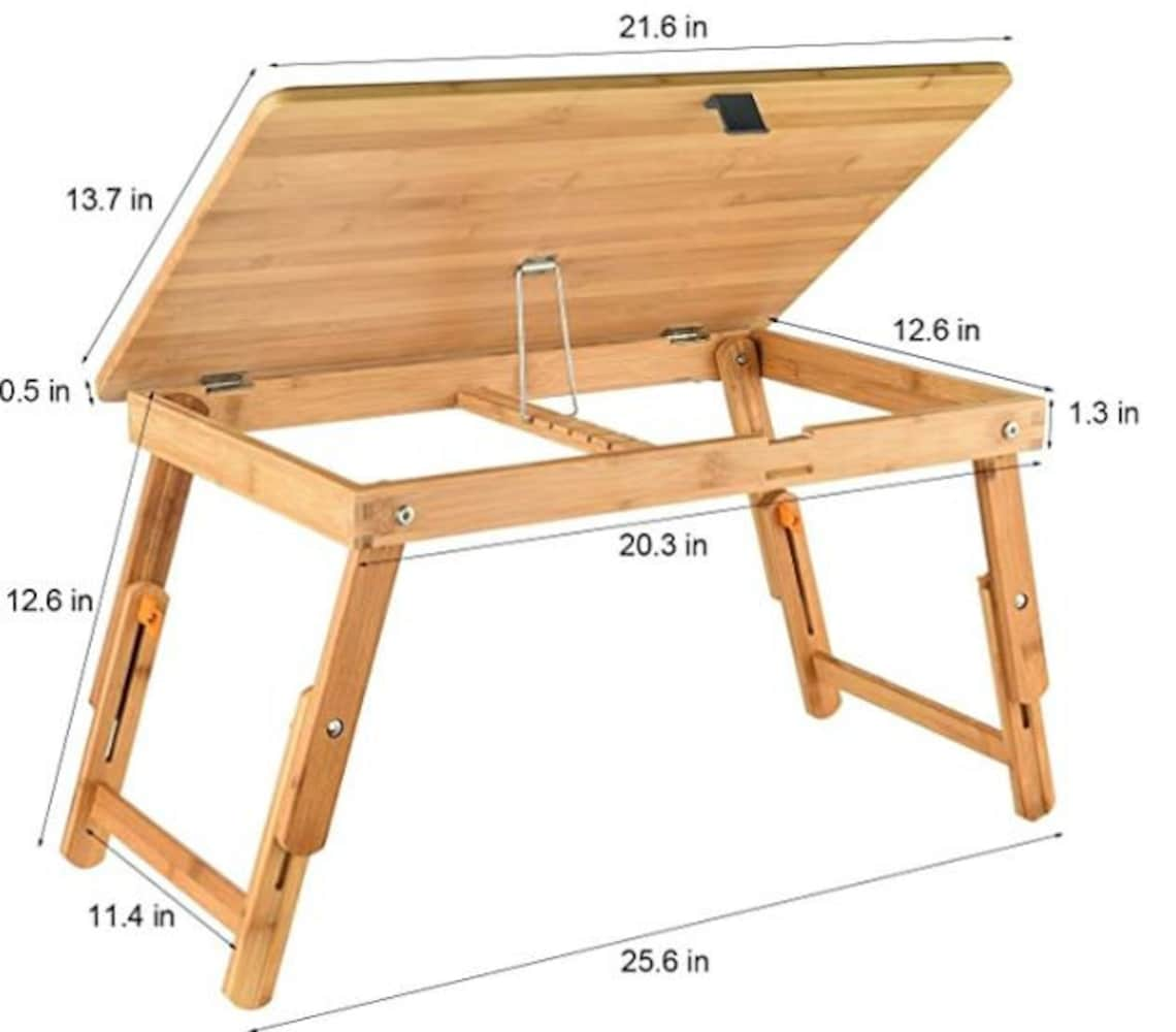 Drafting Table Laptop Desk Adjustable Drawing Desk Foldable Tray for Adult Kids Bamboo
