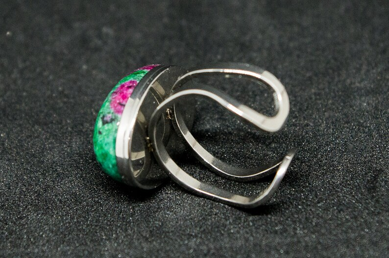 Stainless steel with Ruby Fuchsite stone ring