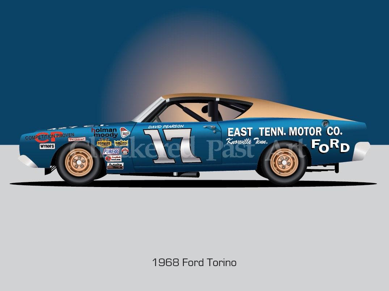 David Pearsons 1968 Ford Torino Race Car Illustration Etsy 1969 Gt 428 Co Jet Zoom