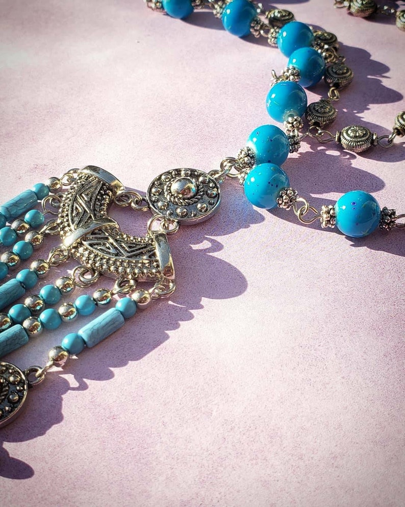 Beautiful blue beaded necklace.