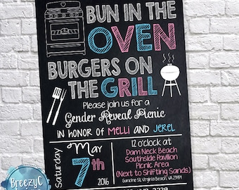 Gender Reveal Hot Dog Burger Personalized Digital Invitation YOU PRINT