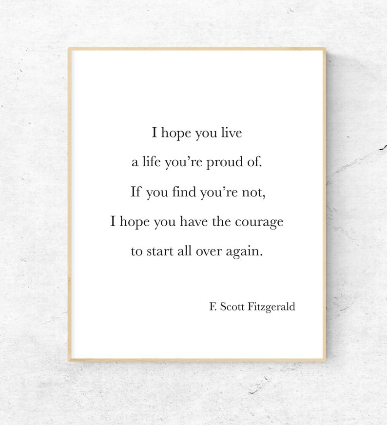 F Scott Fitzgerald Quote Printable For What Its Worth Etsy