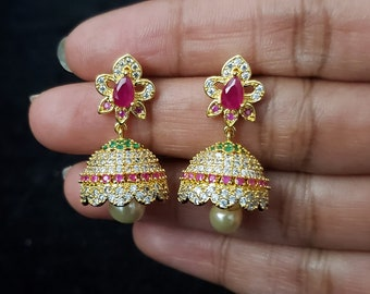 Changeable Boutique collection earrings Party collection. AD with semi precious ruby earrings Detachable Jumka High quality