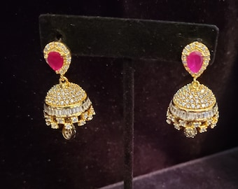 Indian Earrings Jumkas Hangings Ethnic jewelry One Gram Gold Buttalu Embossed work Jumkas Wedding Jewelry Bollywood Earrings