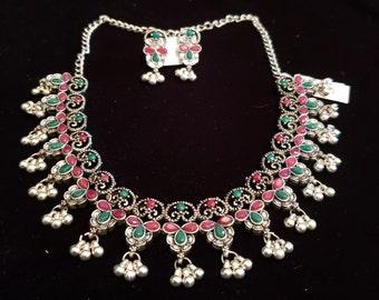 46ef40aca Indian Jewelry, Traditional temple Jewelry, Ethnic, German Silver, Gemstone,  Fresh Water Pearls, Bollywood jewelry, Wedding Jewelry