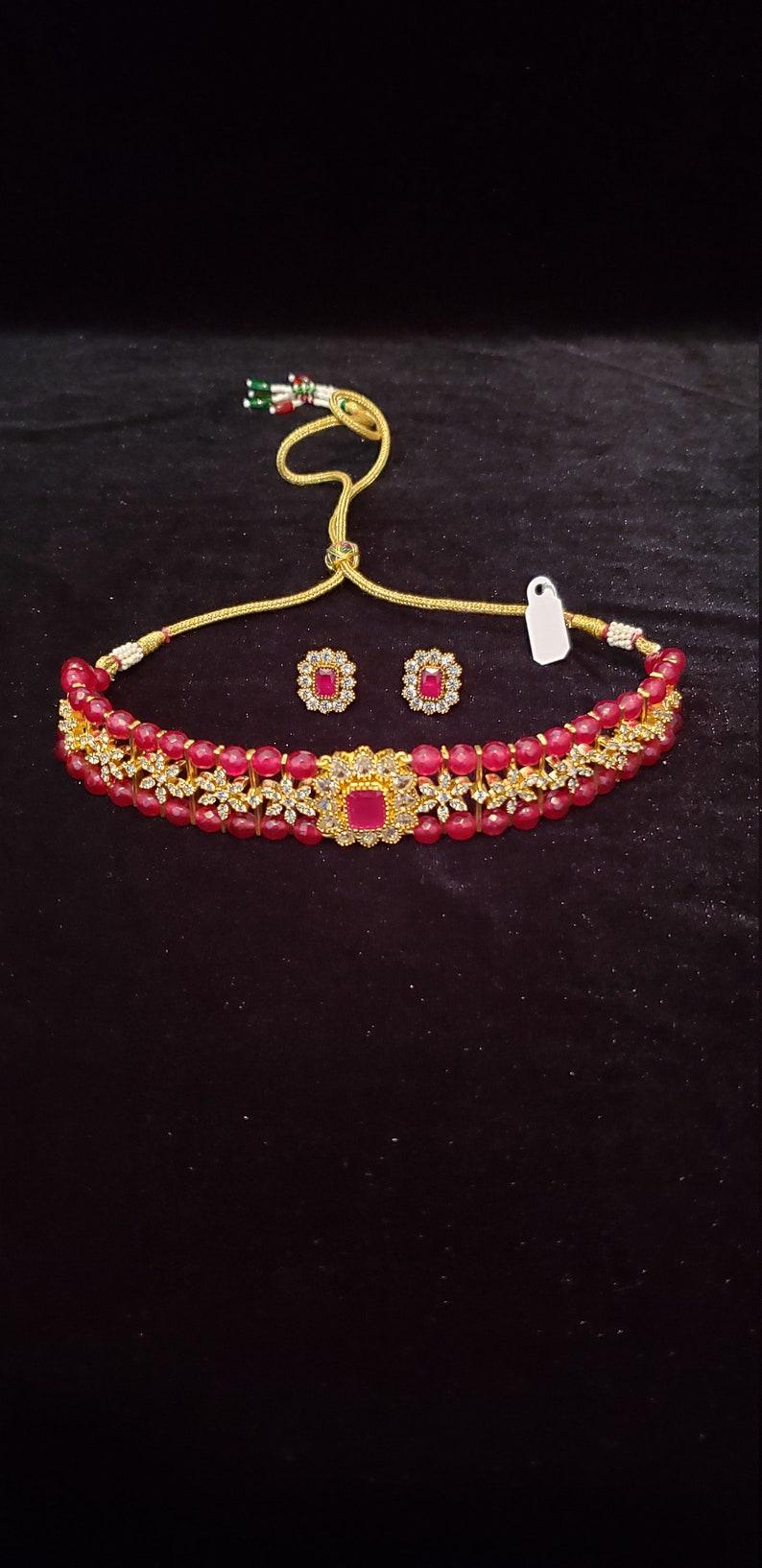 Cubic zirconia beautiful jewelry for adults and kids  too Ruby beads semiprecious Choker set Wedding jewelry