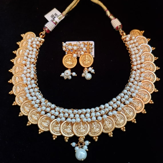 Indian Jewelry Traditional Temple Jewelry Pearls Bollywood Etsy