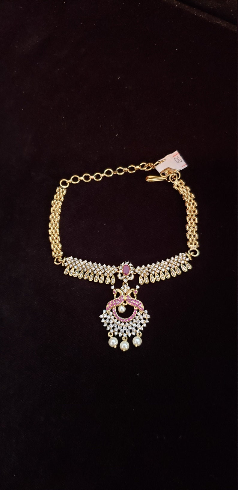 Traditional Armlet Bhanjuband Cubic Zircon armlet pearls Synthetic Ruby Indian Jewelry Hand Jewelry Vanki