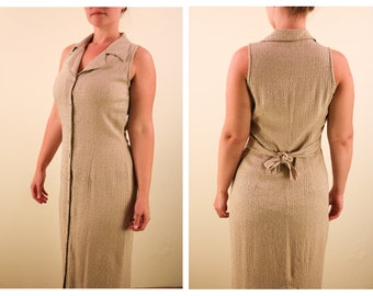 1940s slip dress taffeta 40s 30s 1930s S M small medium 34 36 beige ivory taupe maxi long dress minimal minimalist tan sleeveless handmade