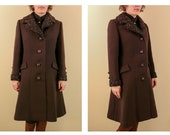 1950 s Chocolate Brown Boiled Wool and Persian Lamb Princess Cut Jacket