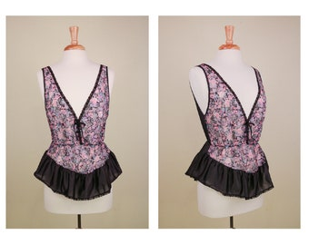 5616e33e5a3 Black Satin and Pink Floral lace Print Cinch Waist Camisole Festival Ready
