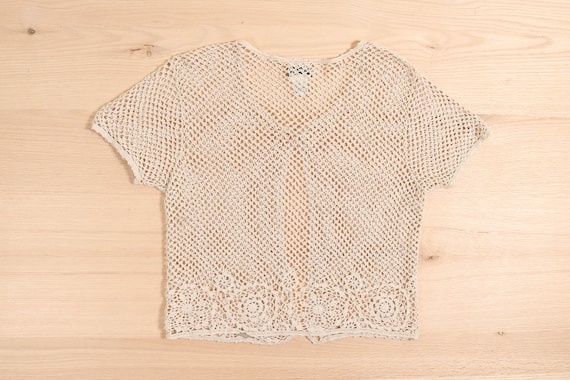 1990's Crochet Crop Cardigan Top Natural Ramie Co… - image 2