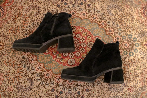 Black ' Hush Puppies ' Suede GoGo Boots