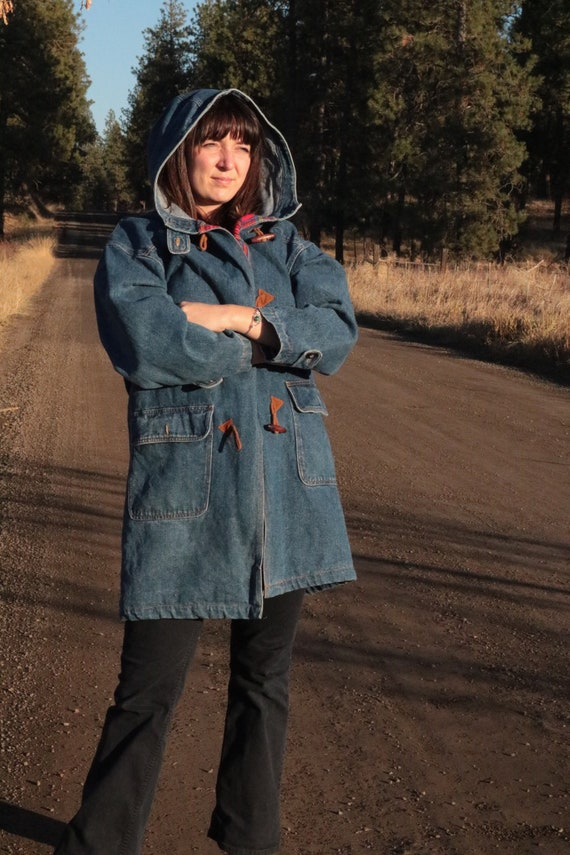 1990's Hooded Denim Zip up Duffel Coat with Flann… - image 2