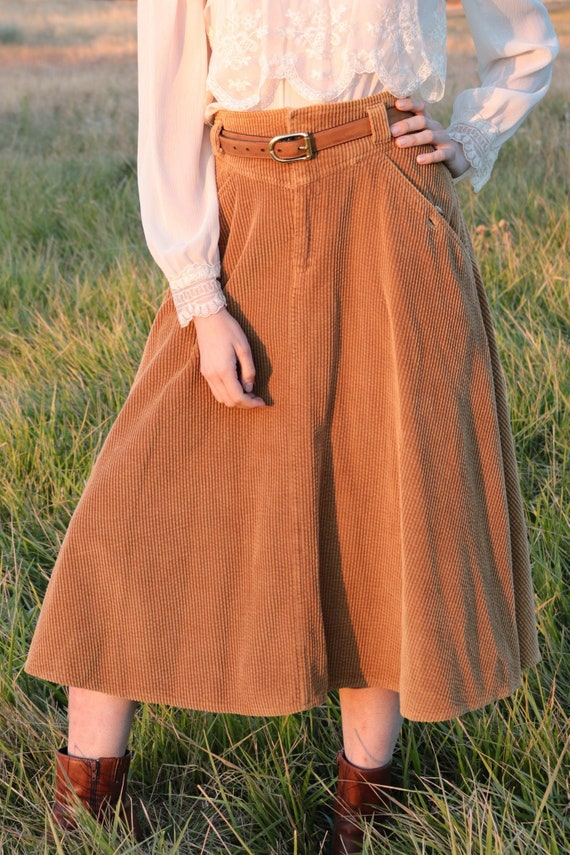 1970's Camel Corduroy Skirt with Pockets