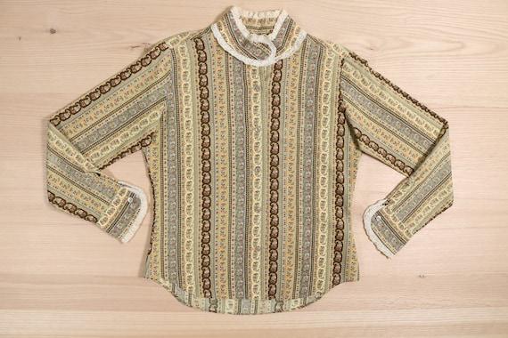 1970's Brown & Mustard Yellow Paisley High Collar
