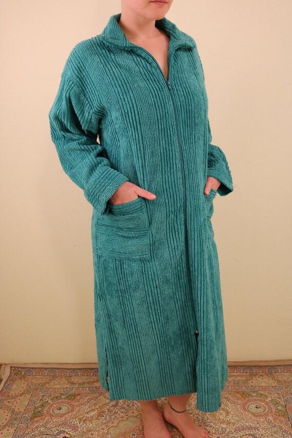 Vintage Teal Chenille Long Sleeve Zip Up Festival… - image 3