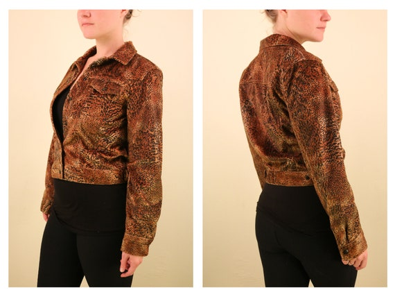1990's Vintage Velvet Animal Print Snap up Cropped