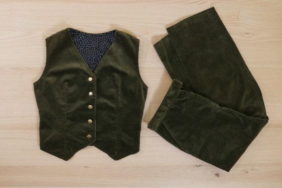 1970's Olive Green Corduroy Vest & Pants Suit Set