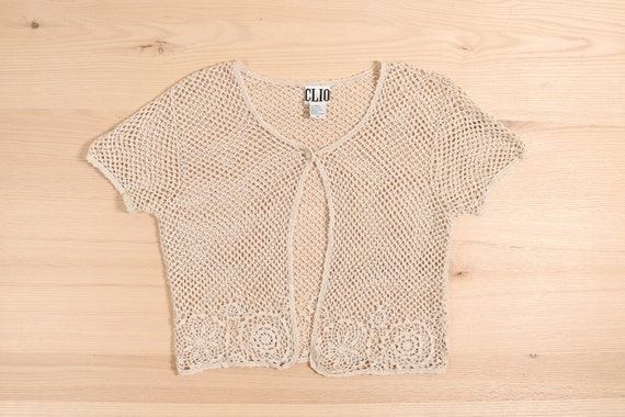1990's Crochet Crop Cardigan Top Natural Ramie Co… - image 1