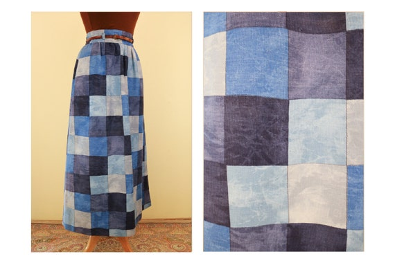 1960's Denim Patchwork Printed Vintage Maxi Skirt