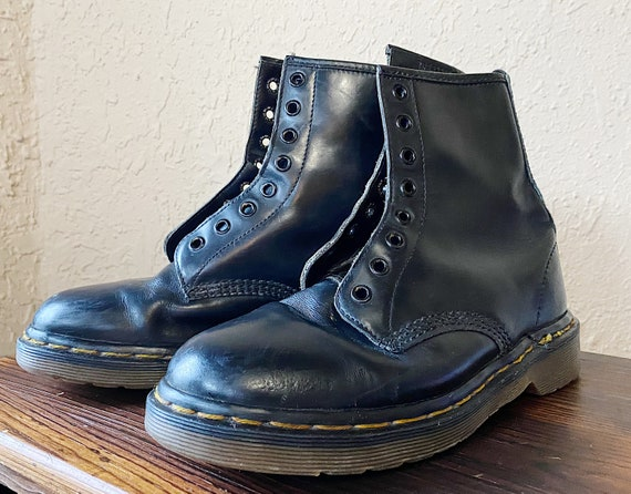 1990's Black Doc Marten Combat Boots - Made in Eng