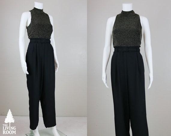 Vintage 80's Gold & Black Sleeveless Belted Jumpsu