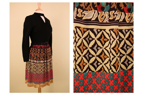 Vintage 1960's Long Sleeve Mod Dress Psychedelic P