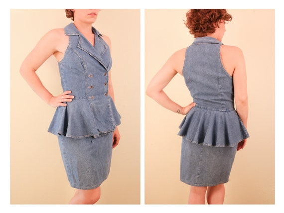 1980's Denim Sleeveless Peplum Dress Double Breast
