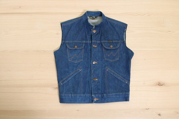 1970's Wrangler Dark Blue Denim Work Vest