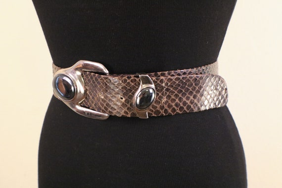 80's Snake Skin Adjustable Statement Belt - image 4
