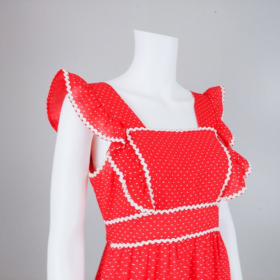 50's Red Polka Dot Open Back Apron Dress with Tie