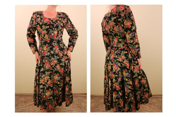 1990's Long Sleeve Floral Maxi Dress