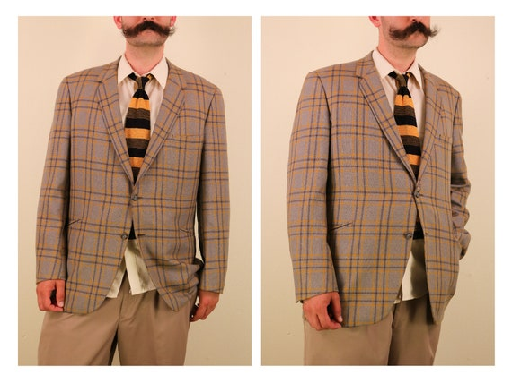 1960's Yellow and Grey Plaid Wool Sport Coat Blaze