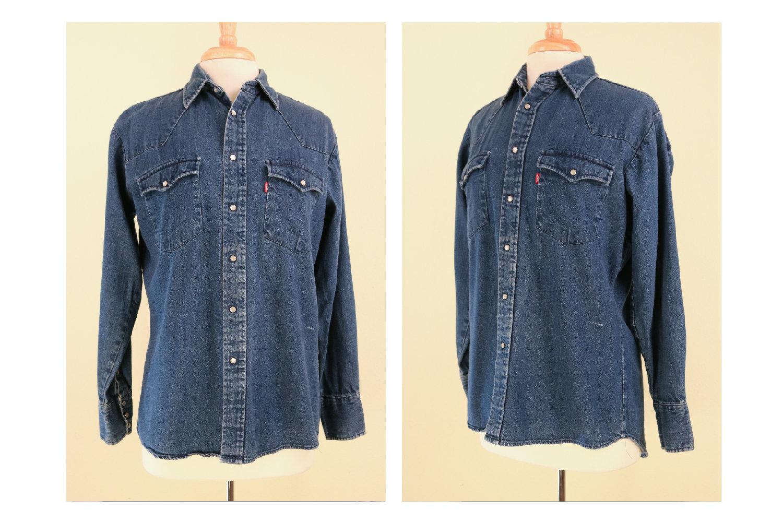 1970s Mens Shirt Styles – Vintage 70s Shirts for Guys 1970s Levis Western Denim Shirt Cowboys Tailor Label Rodeo Vintage Mens Authentic American Work Wear $0.00 AT vintagedancer.com