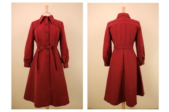 Vintage 1970's Vintage Deep Red Fitted Canvas Tren