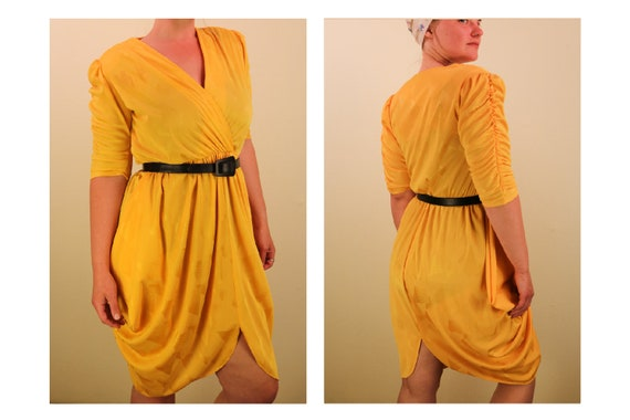 80's Loud Yellow Cocoon Dress With Ruffled Sleeves