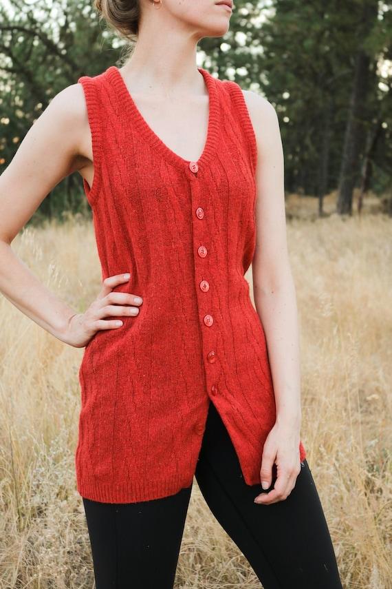 1970's Burnt Orange Wool Knit Tunic Sleeveless Ves