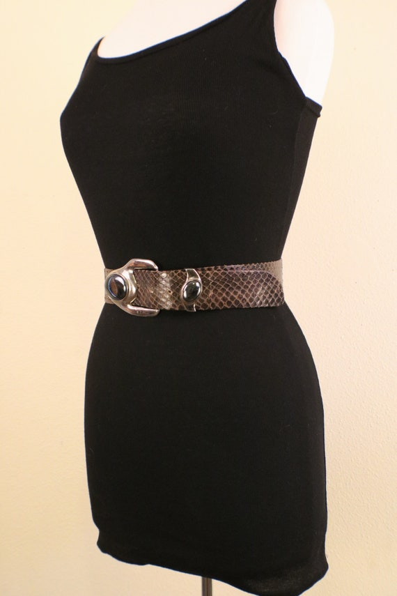 80's Snake Skin Adjustable Statement Belt - image 3