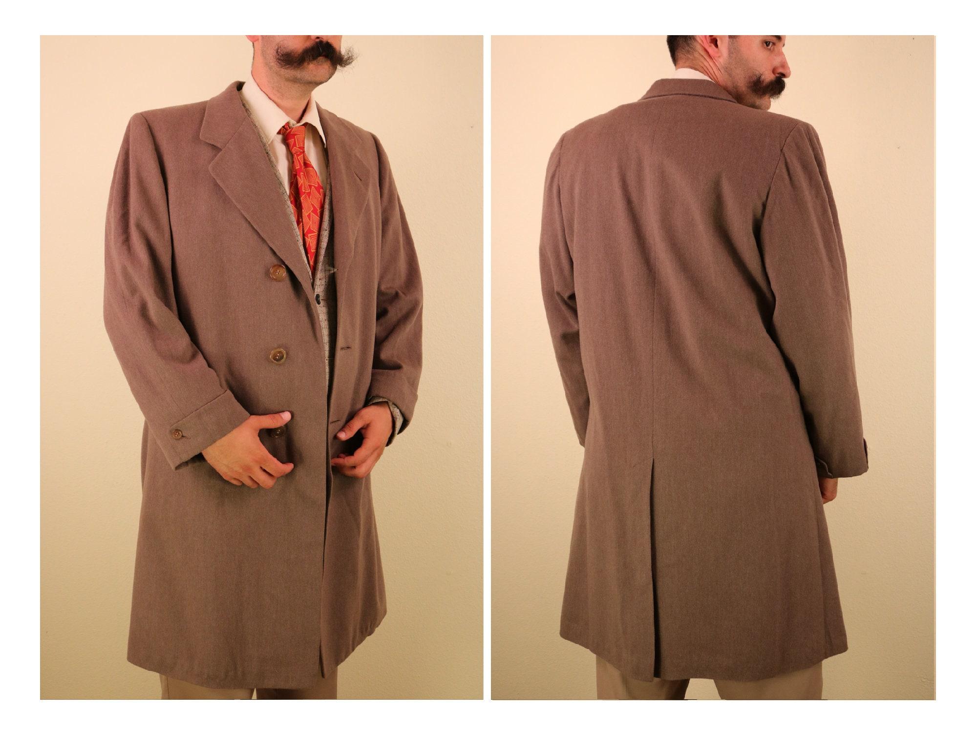 1940s Mens Ties | Wide Ties & Painted Ties 1940s 1950s Mens Brown Wool Overcoat Hickey Freeman Mens Menswear Vintage Big  Tall 48R $0.00 AT vintagedancer.com