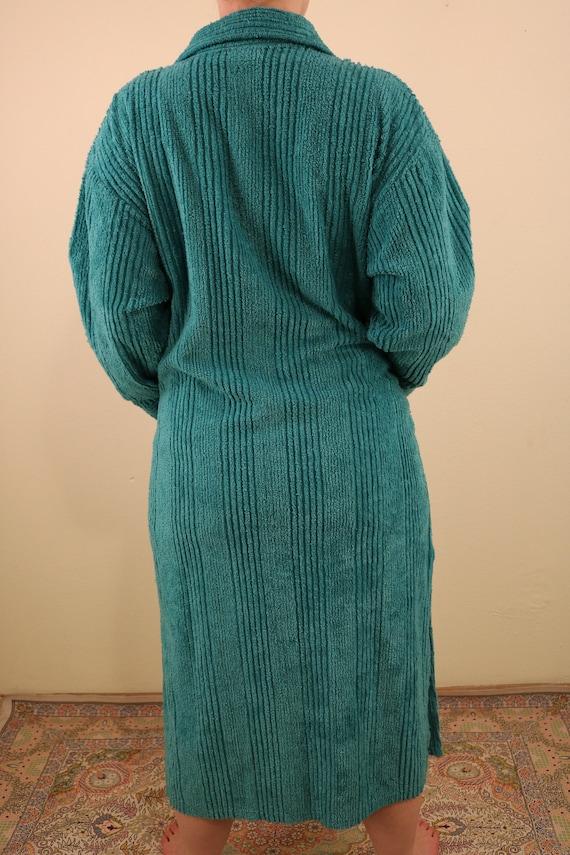 Vintage Teal Chenille Long Sleeve Zip Up Festival… - image 4