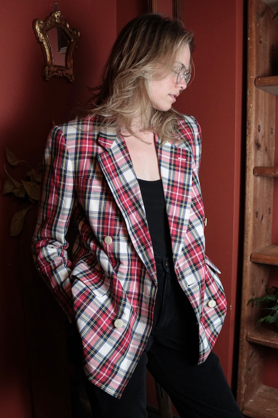 1980's Plaid Double Breasted Blazer