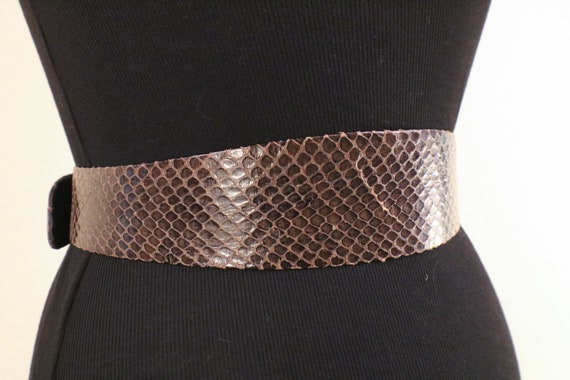 80's Snake Skin Adjustable Statement Belt - image 6