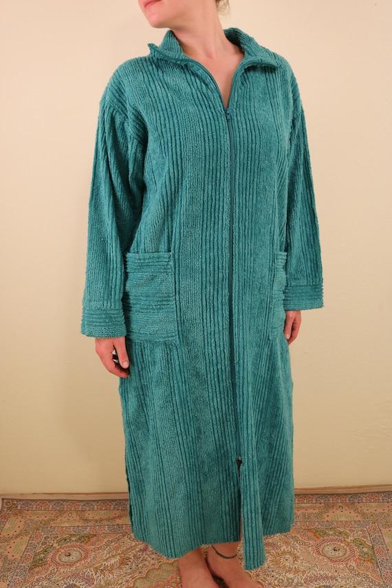 Vintage Teal Chenille Long Sleeve Zip Up Festival… - image 2