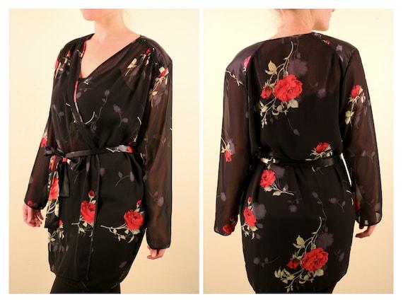 1980's Black Rose Print Mesh Sexy Short Robe Bathr