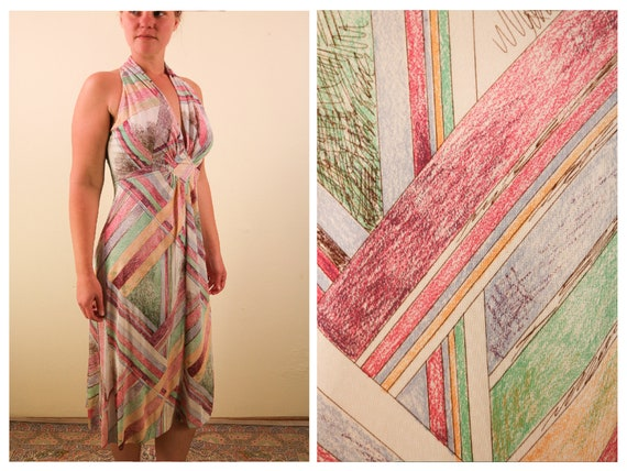 1970's Sleeveless Pastel Abstract Print Racer back