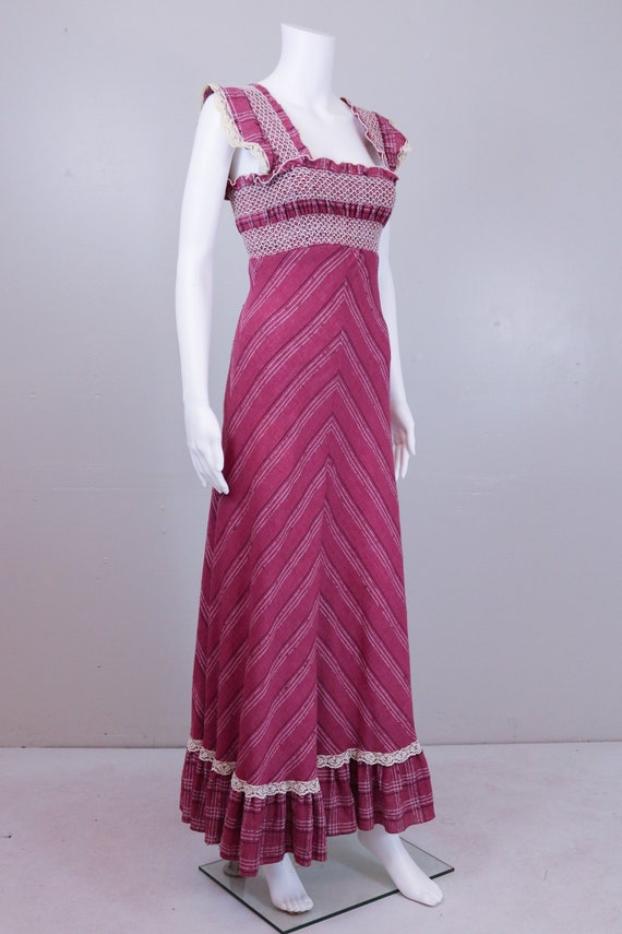 70's Maroon ' Gunne Sax' Style Maxi Prairie Dress