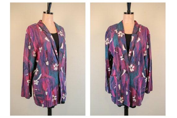 1980's Floral Unisex Purple Floral Blazer Talking